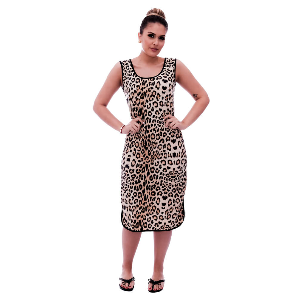 Camisola Feminina Longuete de Alça com Viés Preto em Estampa Animal Print de Onça