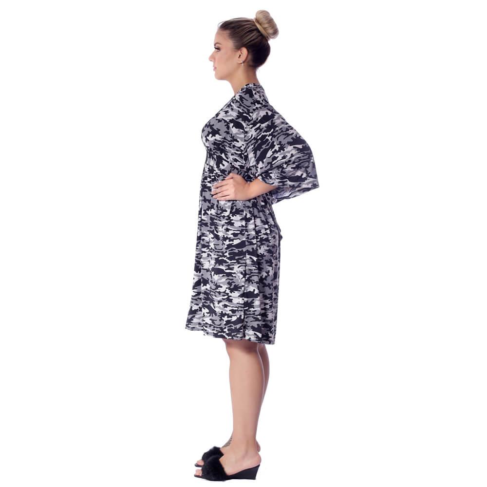 Kaftan Curto com Proteção UV Estampa Militar Camuflada