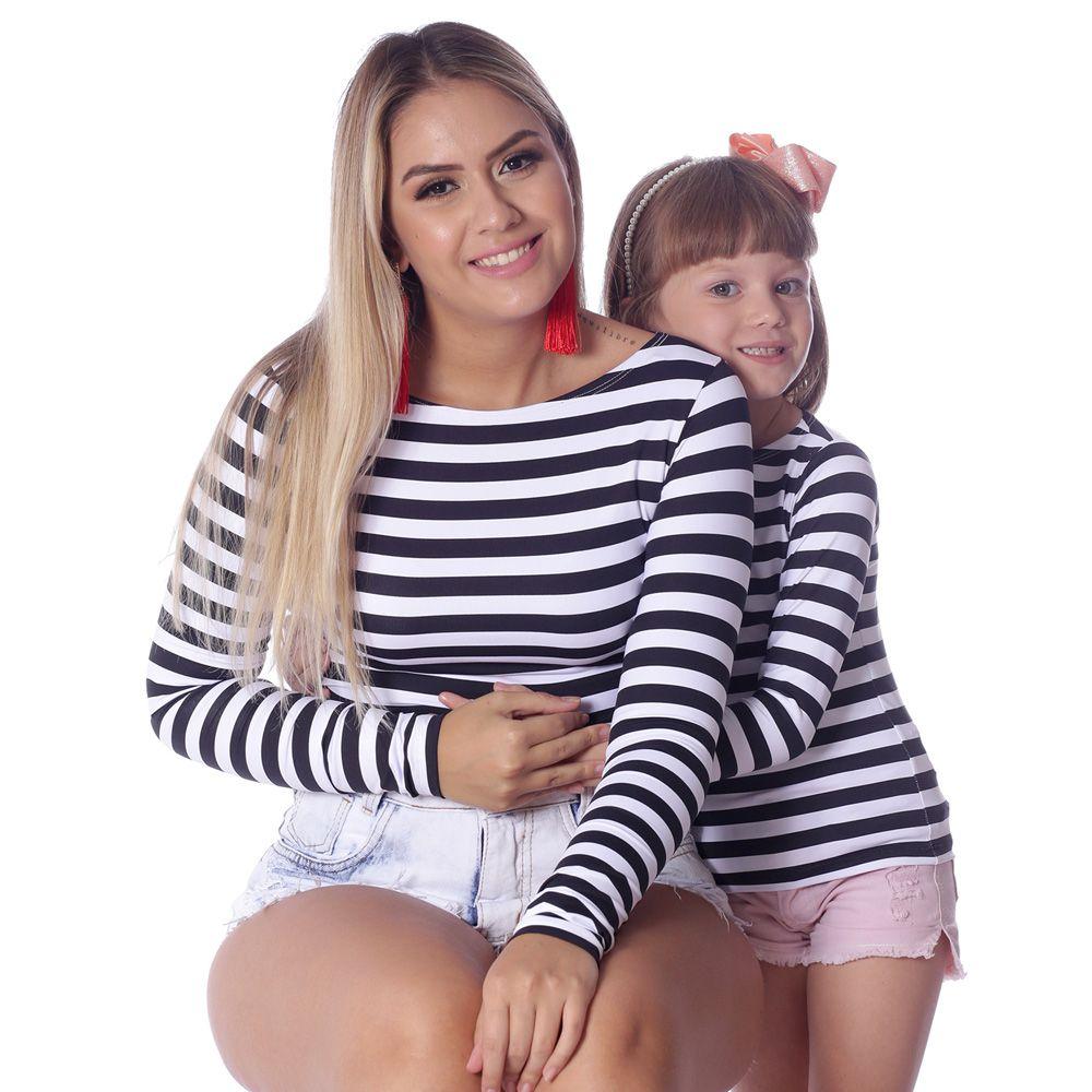 Kit Mãe e Filha Blusas FICALINDA Listradas Preto e Branco Manga Longa Decote Canoa EVASÊ