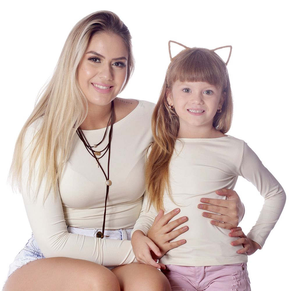 Kit Mãe e Filha Blusas FICALINDA Palha Manga Longa Decote Canoa EVASÊ