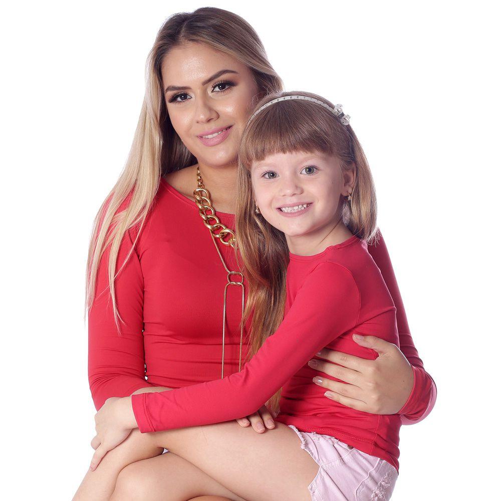 Kit Mãe e Filha Blusas FICALINDA Vermelhas Manga Longa Decote Canoa EVASÊ