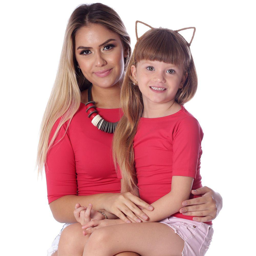 Kit Mãe e Filha Blusas FICALINDA Vermelhas Meia Manga Decote Canoa EVASÊ