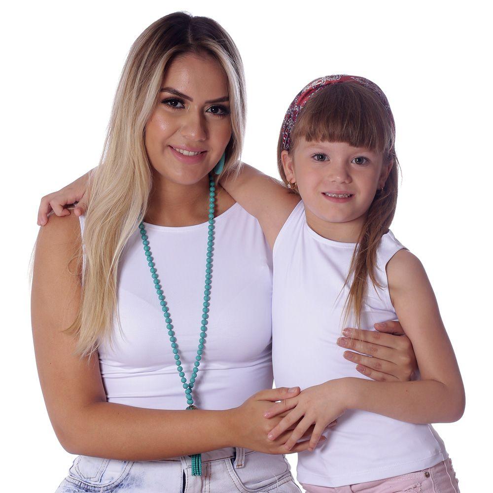 Kit Mãe e Filha Regatas FICALINDA Brancas Decote Canoa EVASÊ