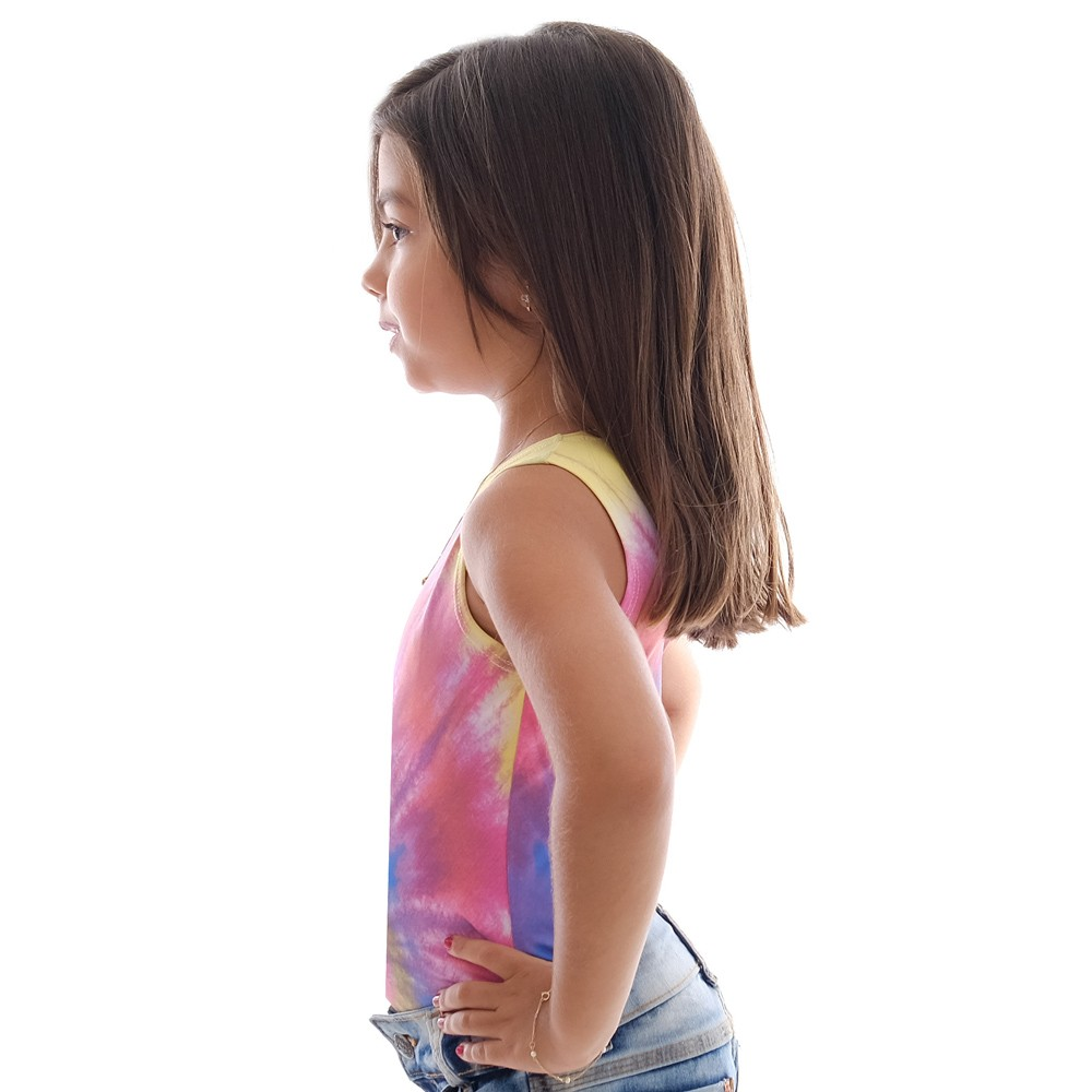 Kit Mãe e Filha Regatas FICALINDA Estampa Exclusiva Tie Dye Decote Canoa