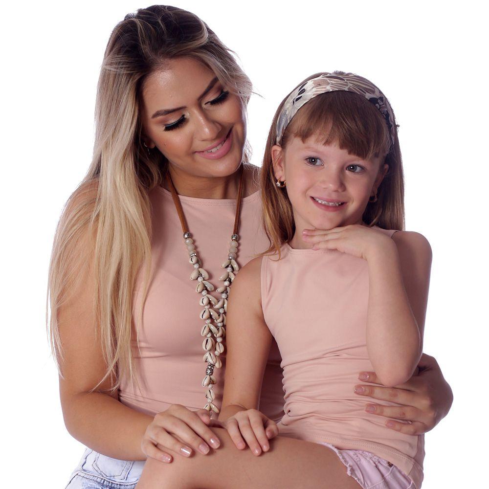 Kit Mãe e Filha Regatas FICALINDA Nude Decote Canoa EVASÊ