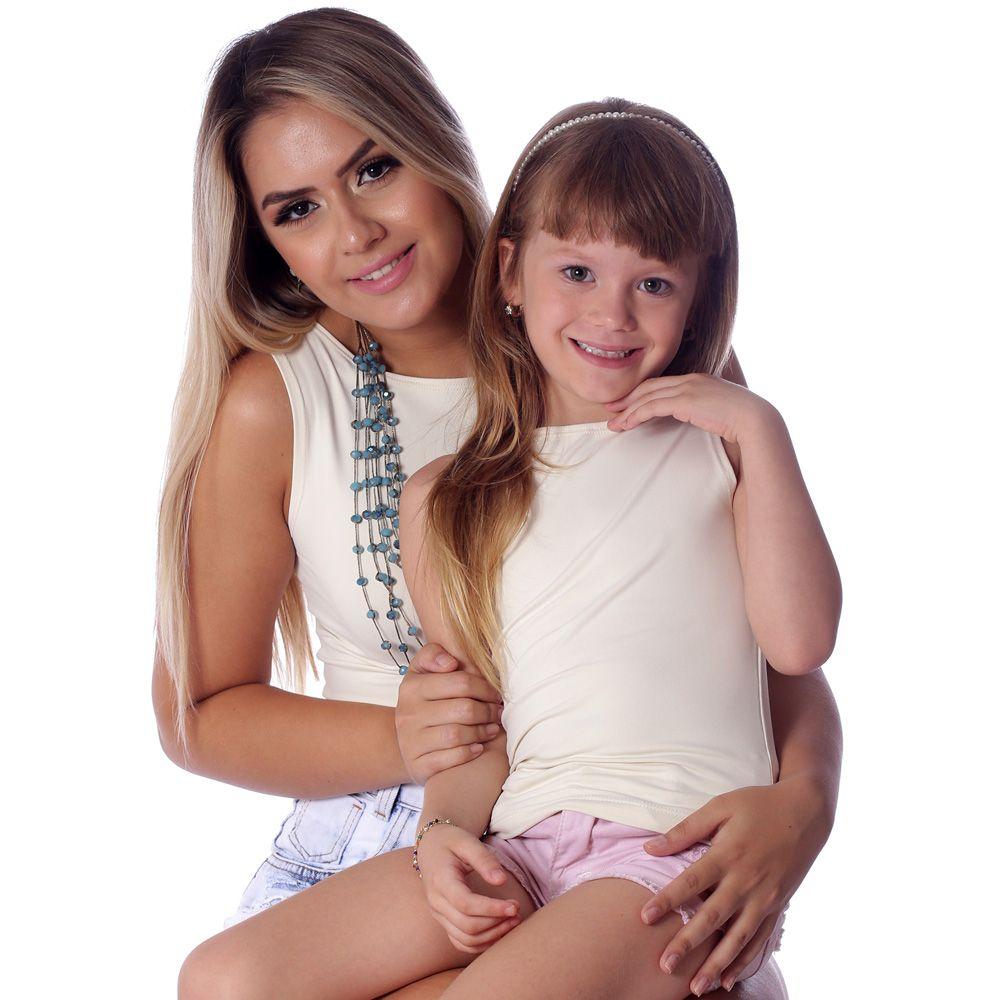 Kit Mãe e Filha Regatas FICALINDA Palha Decote Canoa EVASÊ