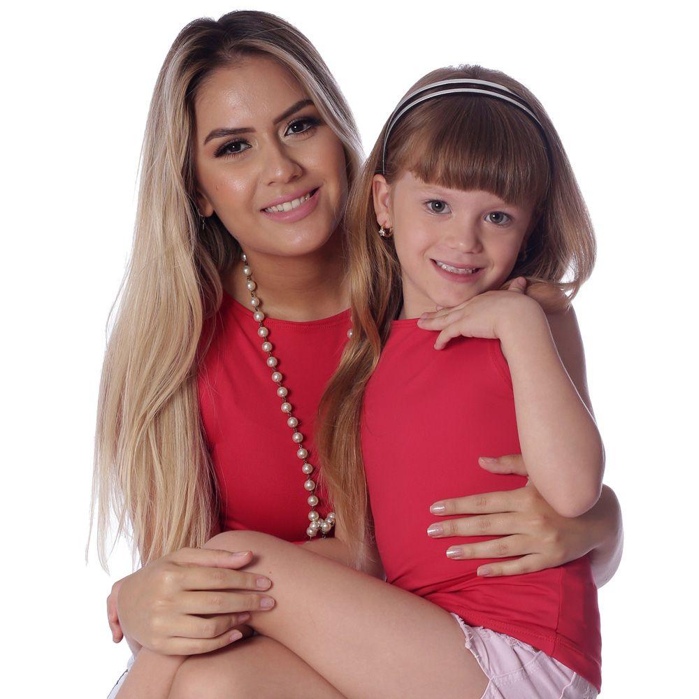 Kit Mãe e Filha Regatas FICALINDA Vermelhas Decote Canoa