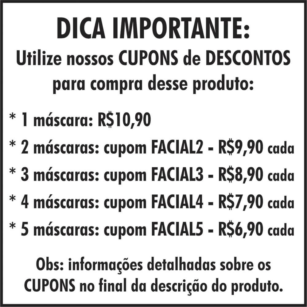 Máscara de Tecido Duplo Lavável ADULTO Estampa Animal Print de Onça Tamanho Único
