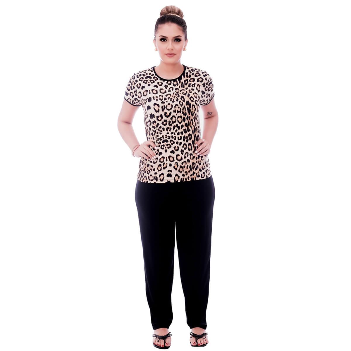 Pijama Feminino de Blusa Manga Curta Estampa Animal Print de Onça e Viés Preto e Calça Comprida Preta
