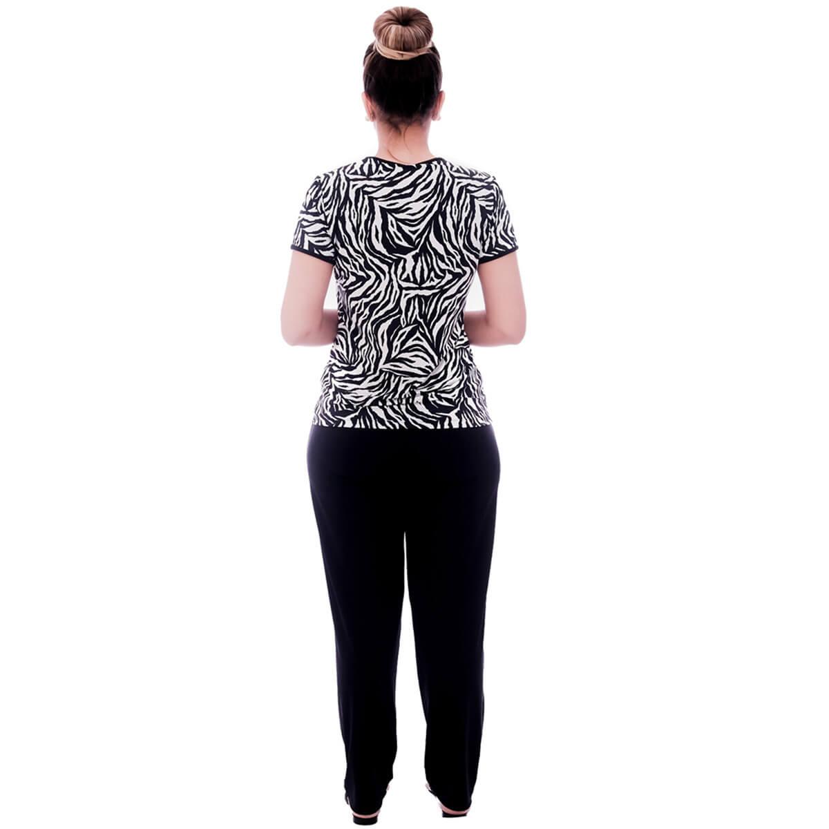 Pijama Feminino de Blusa Manga Curta Estampa Animal Print de Zebra e Viés Preto e Calça Comprida Preta