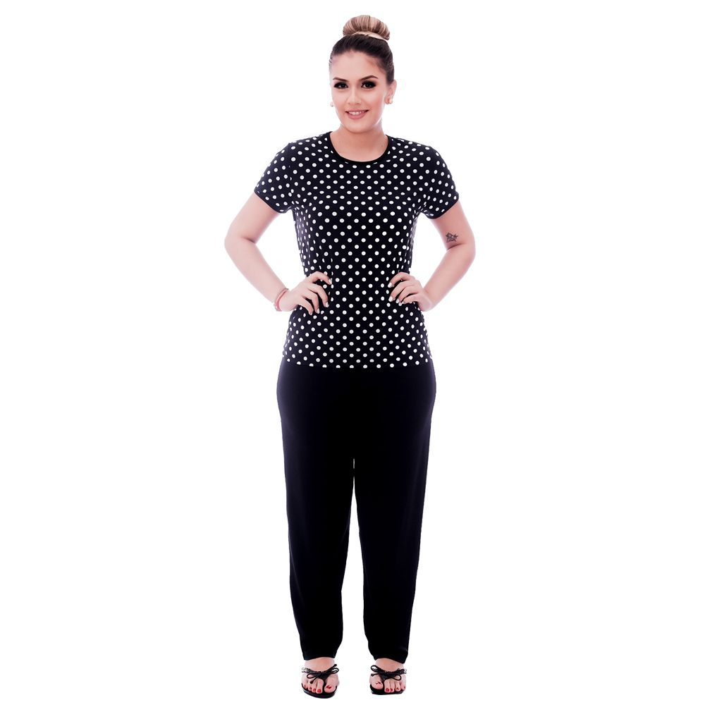Pijama Feminino de Blusa Manga Curta Estampa Poá Preto de Bolas Brancas e Viés Preto e Calça Comprida Preta