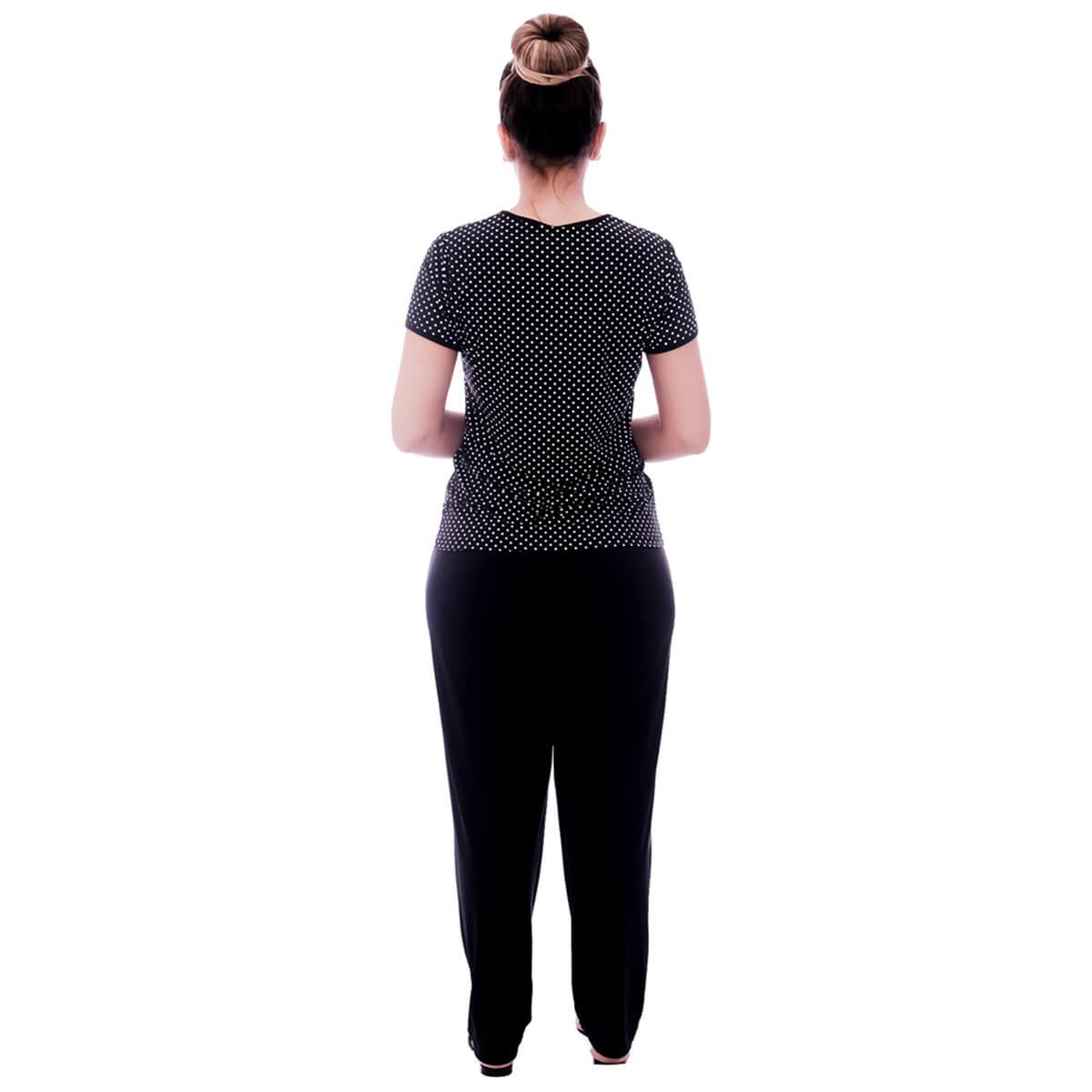 Pijama Feminino de Blusa Manga Curta Estampa Poá Preto de Bolinhas Brancas e Viés Preto e Calça Comprida Preta