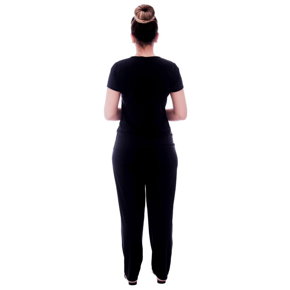 Pijama Feminino de Blusa Manga Curta Preta e Viés Preto e Calça Comprida Preta