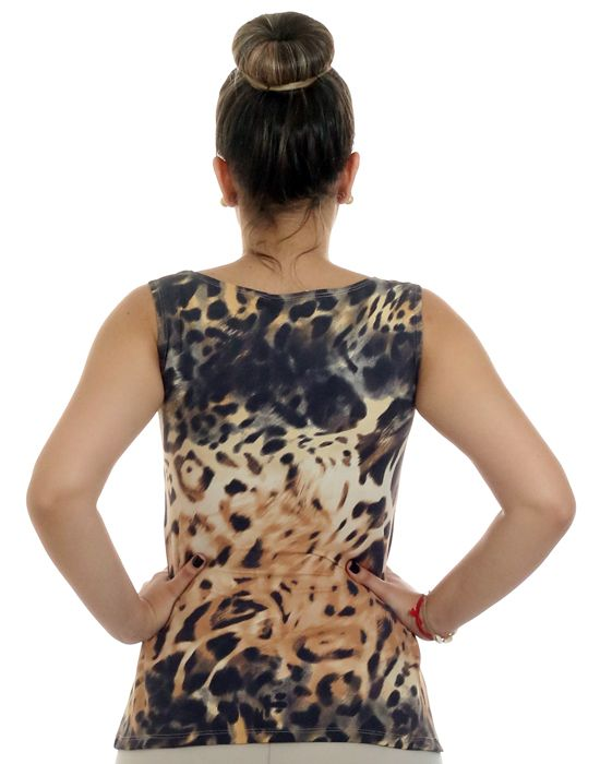 Regata Feminina Estampa Animal Print Onça Decote Canoa Evasê