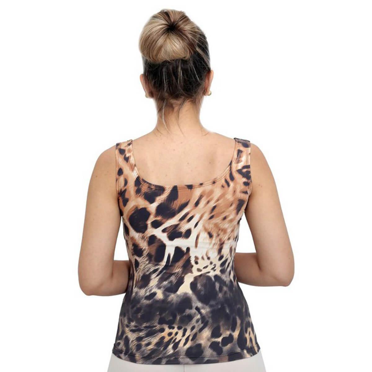 Regata Feminina Estampa Animal Print Onça Decote Redondo