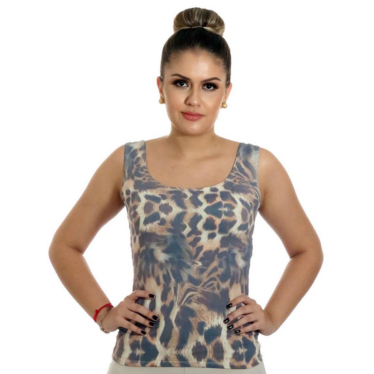 Regata Feminina Estampa Exclusiva Animal Print Onça Decote Redondo
