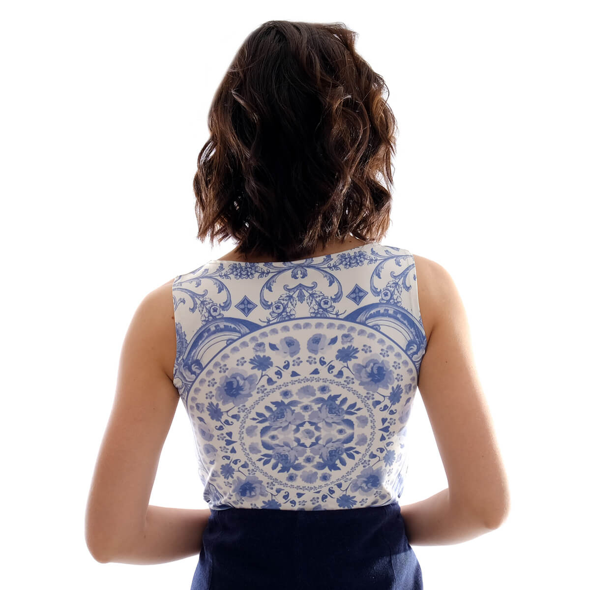 Regata Feminina Estampa Exclusiva Azulejo Português Azul Decote Canoa