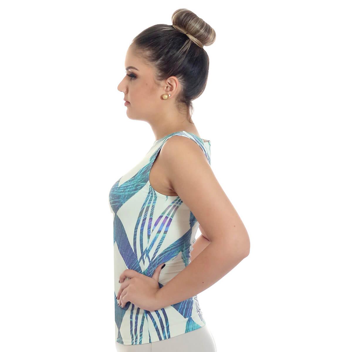 Regata Feminina Estampa Geométrica Exclusiva Azul com Penas de Pavão Decote Canoa