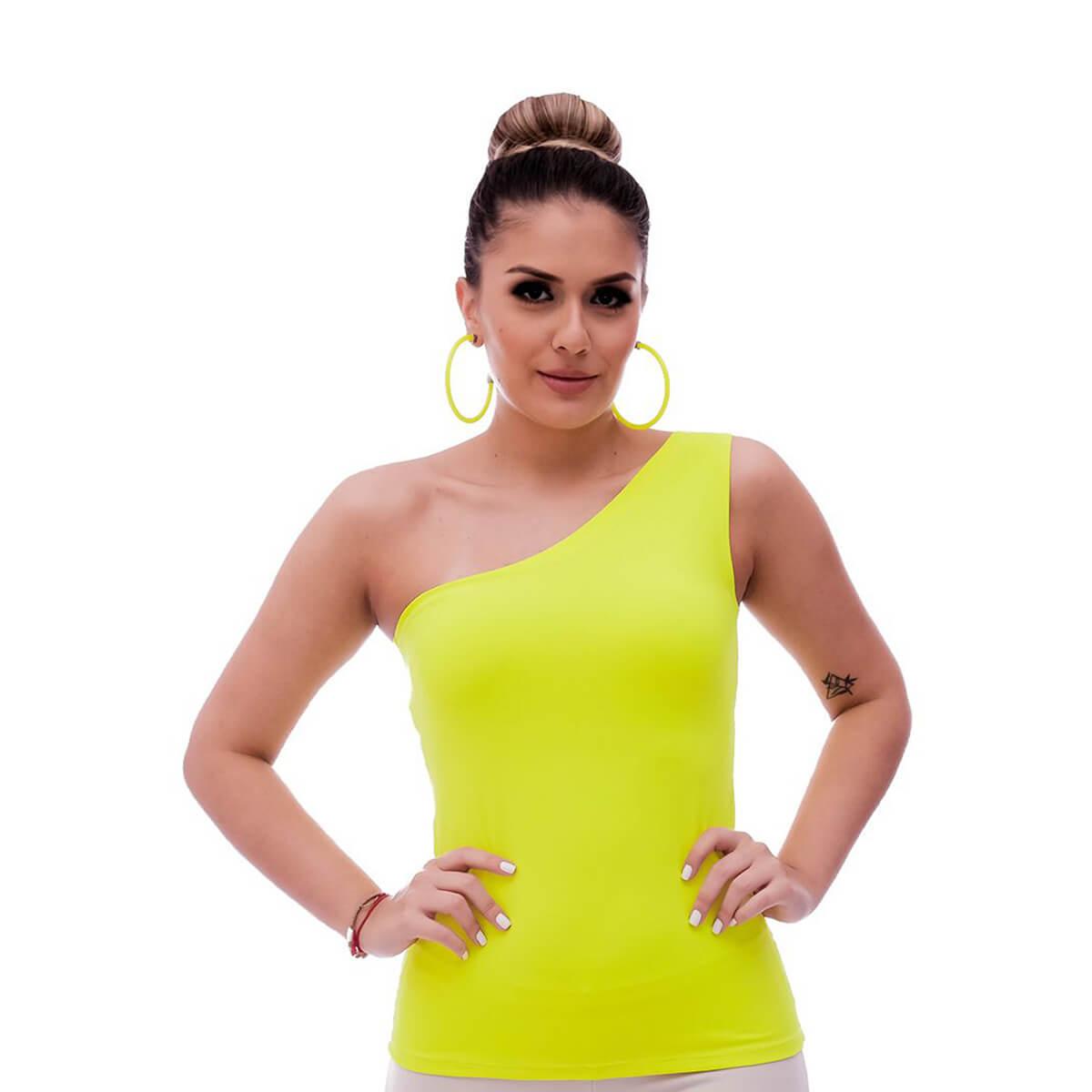 Regata Feminina Ombro Só Neon Verde Limão