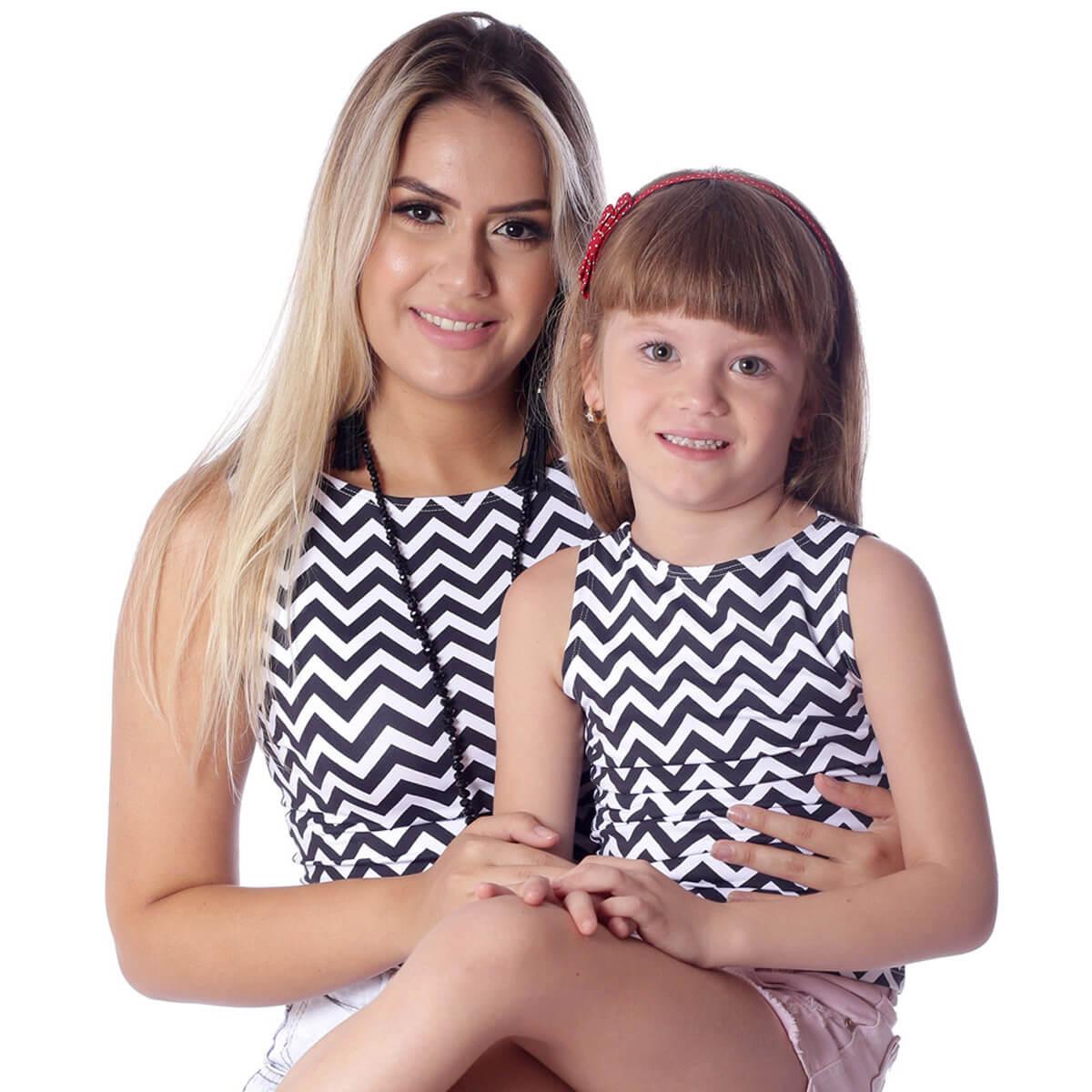 Regata Infantil Estampa Zig Zag Preto e Branco Feminina Decote Canoa