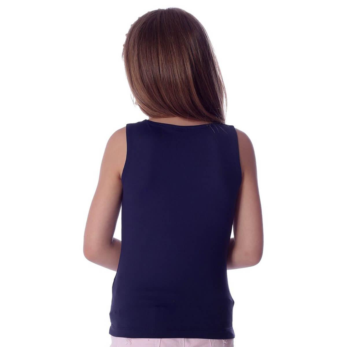 Regata Infantil Feminina Azul Marinho Decote Canoa