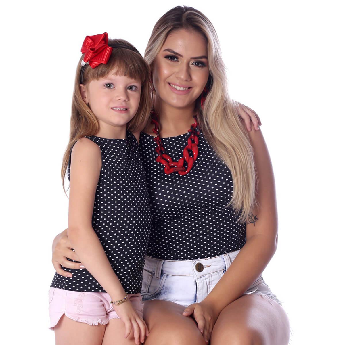 Regata Infantil Poá Preta de Bolinhas Brancas Feminina Decote Canoa