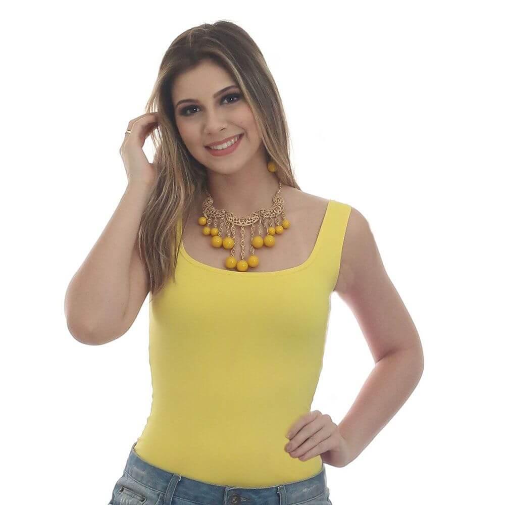 Regata Feminina Amarela Decote Redondo