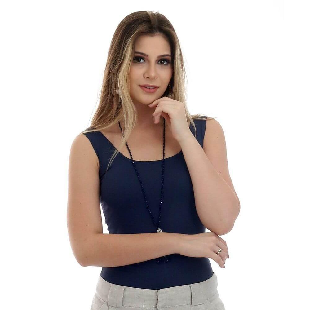 Regata Feminina Azul Marinho Decote Redondo
