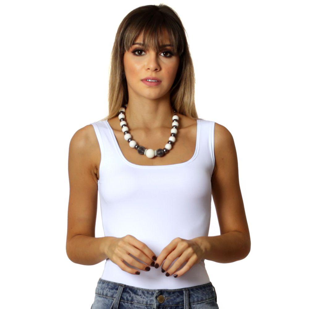 cd3dea478a Regata Feminina Branca Decote Redondo - FicaLinda ...