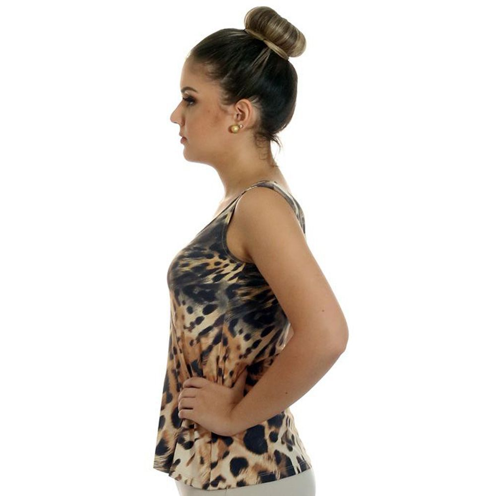 Regata Feminina Estampa Animal Print Onça Decote Redondo Evasê