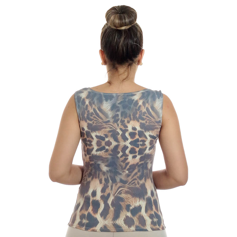 Regata Feminina Estampa Exclusiva Animal Print Onça Decote Canoa