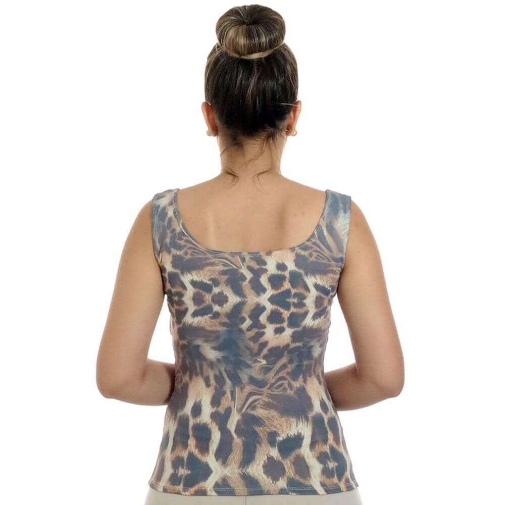 Regata Feminina Estampa Exclusiva Animal Print Onça Decote Redondo