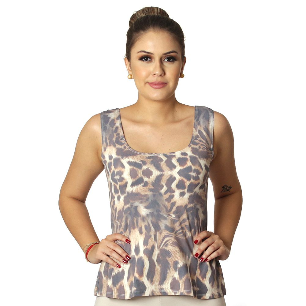 Regata Feminina Estampa Exclusiva Animal Print Onça Decote Redondo Evasê