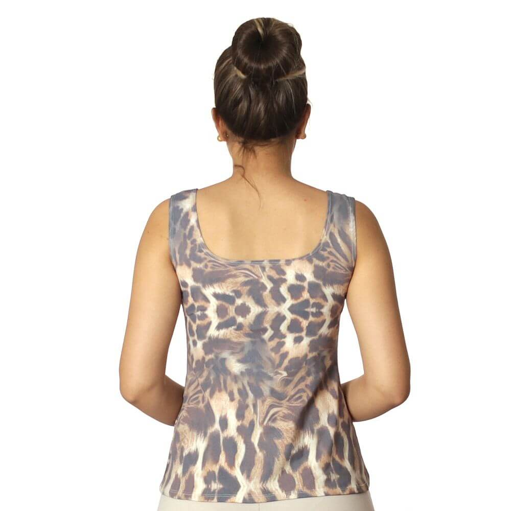 Regata Feminina Estampa Exclusiva Animal Print Onça Decote Redondo Evasê