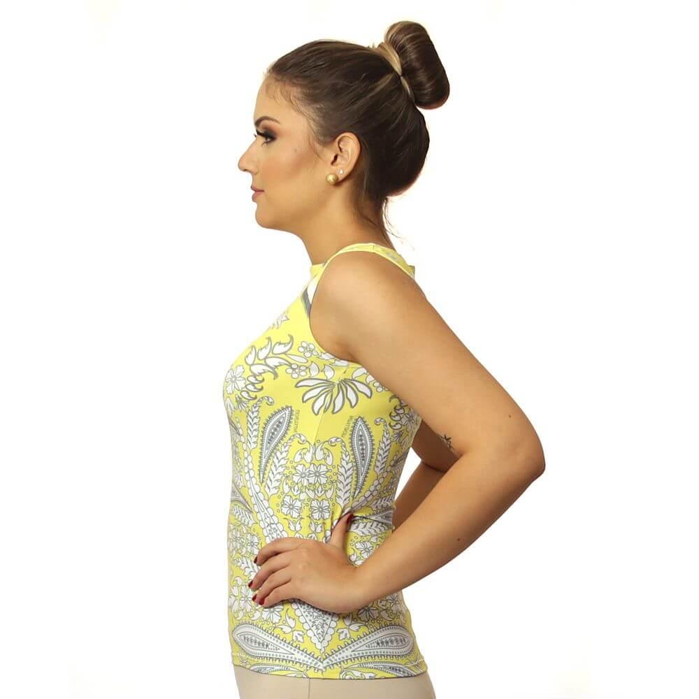 Regata Feminina Estampa Exclusiva Bohemian Etro Amarela Decote Canoa