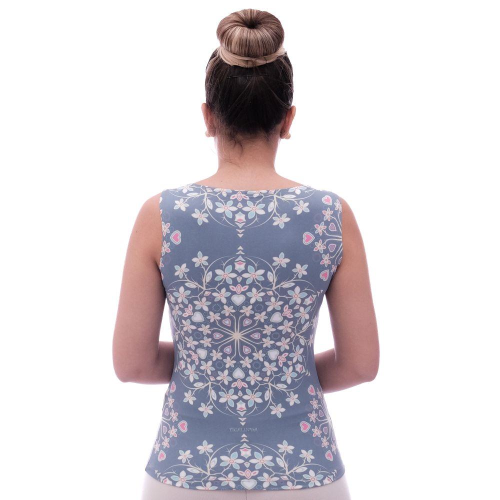 Regata Feminina Estampa Exclusiva Heart Mandala Azul Decote Canoa