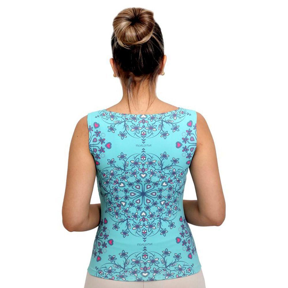 Regata Feminina Estampa Exclusiva Heart Mandala Tiffany Decote Canoa