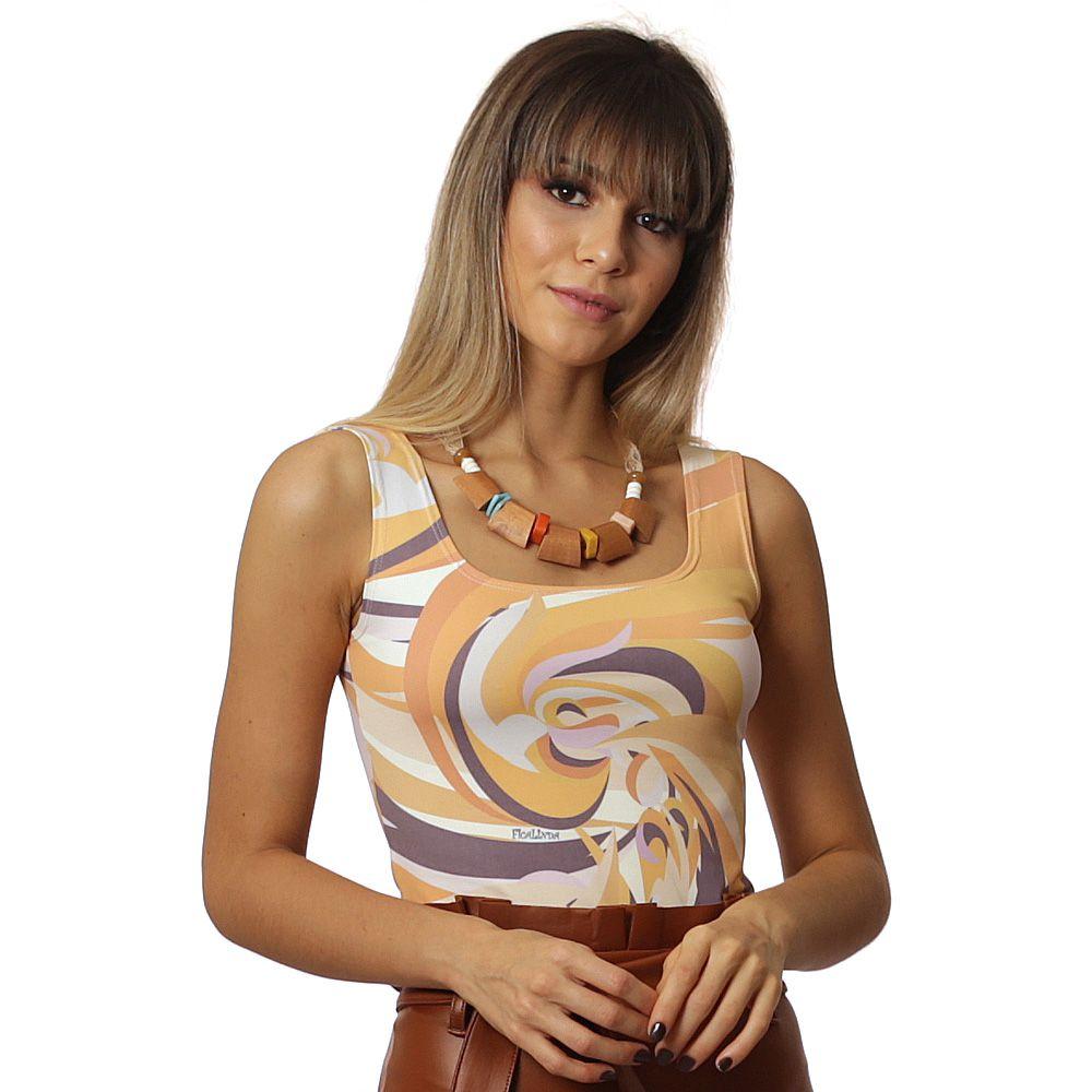 Regata Feminina Estampa Exclusiva Orange Wave Decote Redondo