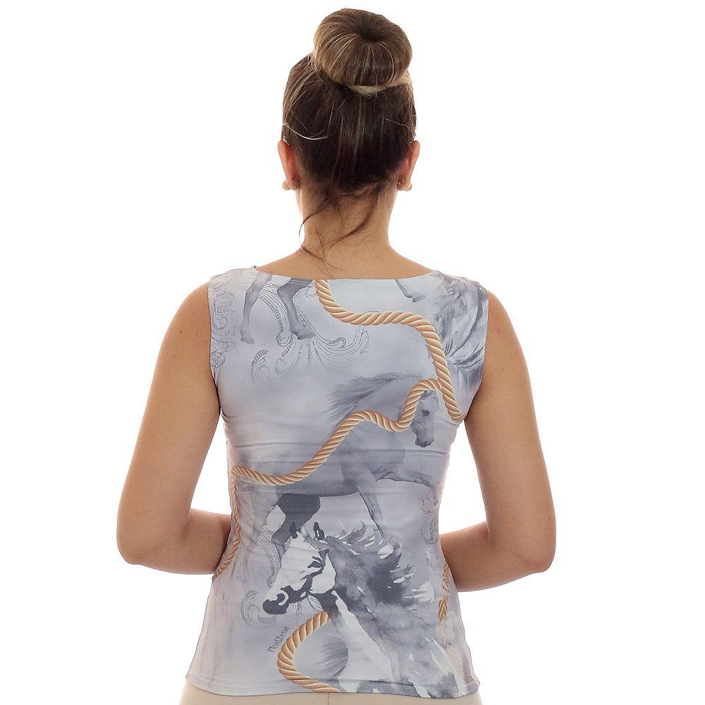 Regata Feminina Estampa Exclusiva Selaria com Desenho de Cavalo Decote Canoa