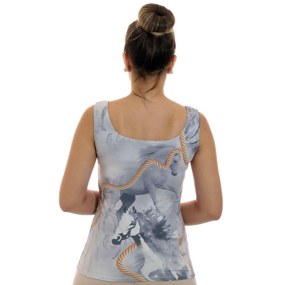 Regata Feminina Estampa Exclusiva Selaria com Desenho de Cavalo Decote Redondo