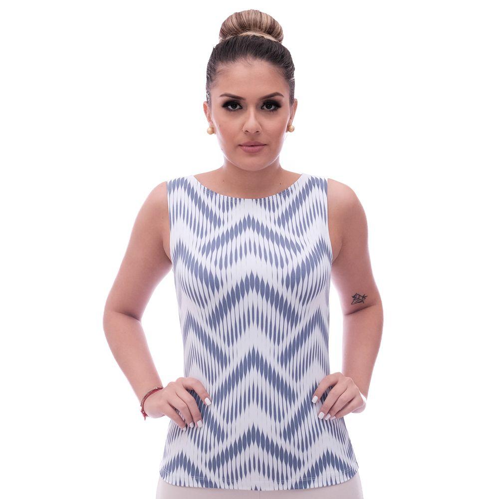 Regata Feminina Estampa Exclusiva Summer Ikat Azul Marinho Decote Canoa