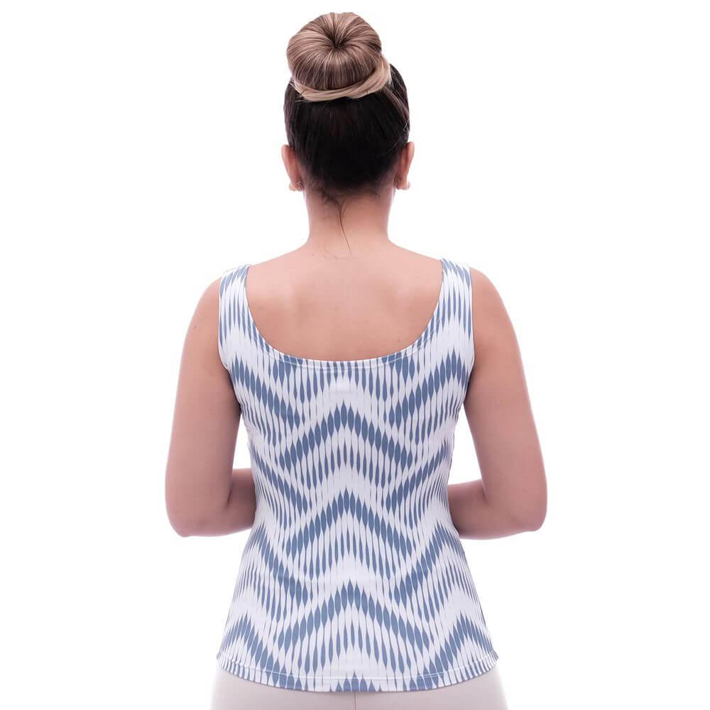 Regata Feminina Estampa Exclusiva Summer Ikat Azul Marinho Decote Redondo