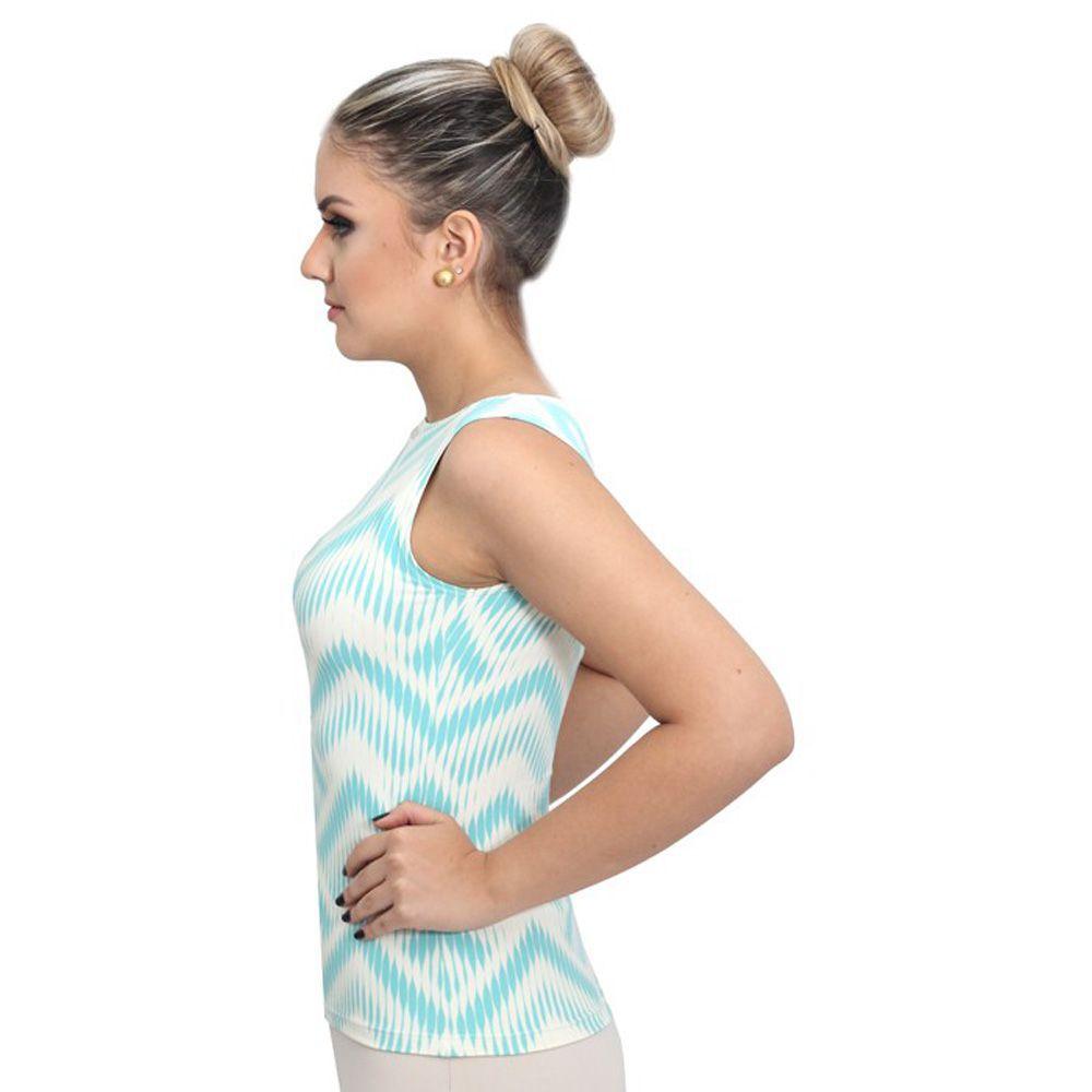 Regata Feminina Estampa Exclusiva Summer Ikat Tiffany Decote Canoa