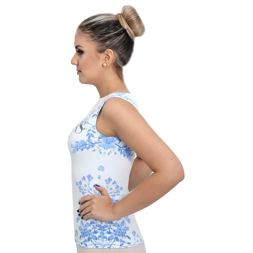 Regata Feminina Estampa Exclusiva Tapeçaria Indochina Azul SUCESS Decote Canoa