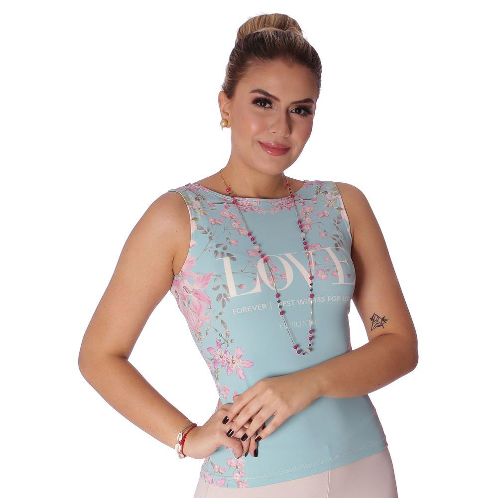 Regata Feminina Estampa Exclusiva Tapeçaria Indochina Tiffany Love Decote Canoa