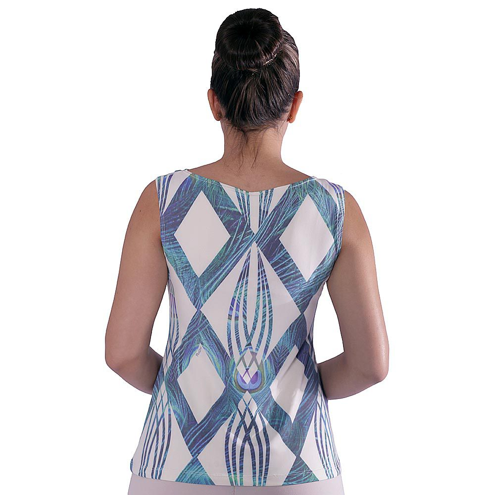Regata Feminina Estampa Geométrica Exclusiva Azul com Penas de Pavão Decote Canoa Evasê
