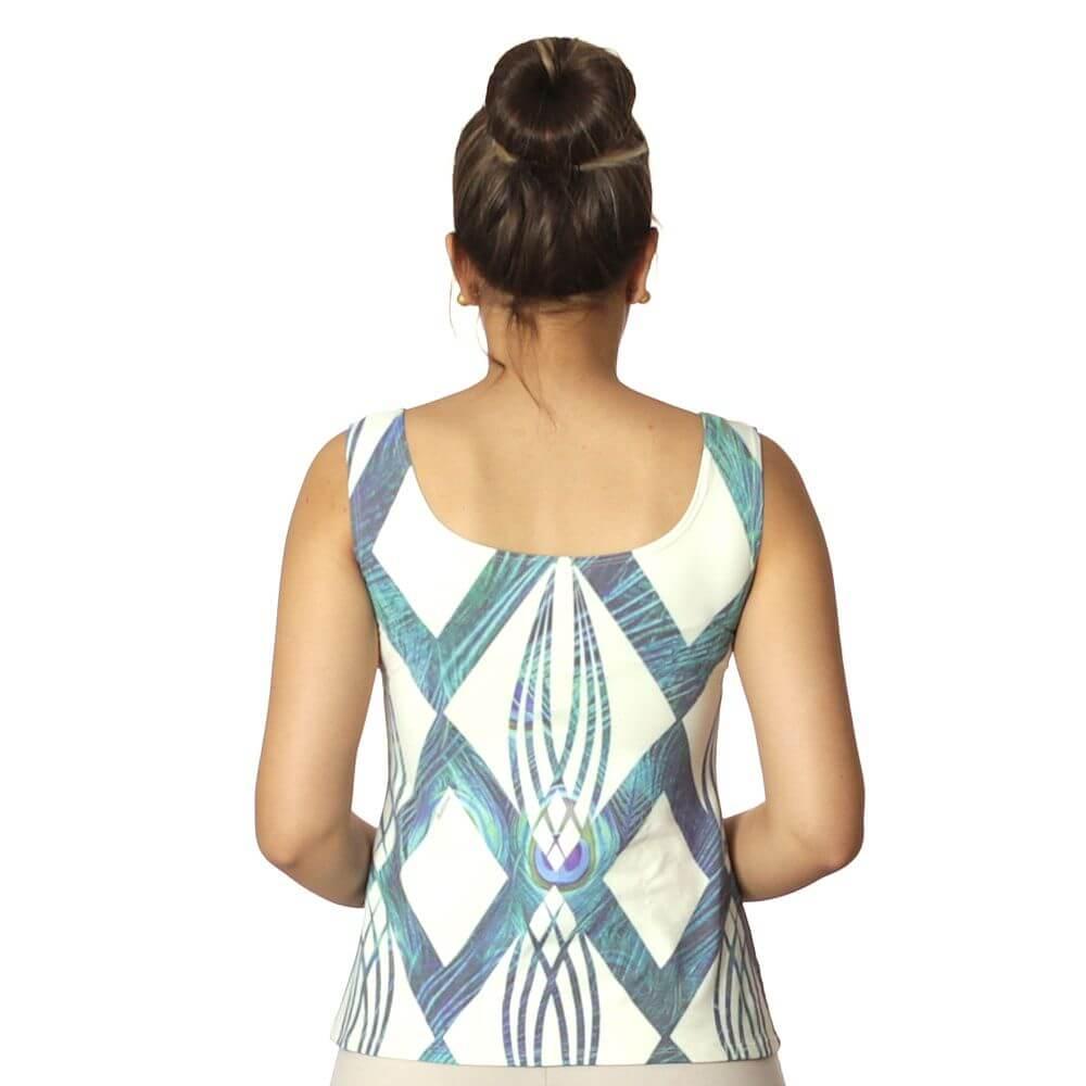 Regata Feminina Estampa Geométrica Exclusiva Azul com Penas de Pavão Decote Redondo Evasê