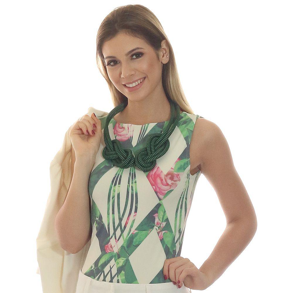 Regata Feminina Estampa Geométrica Exclusiva Verde com Flores Decote Canoa