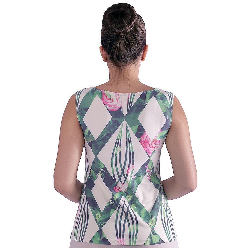 Regata Feminina Estampa Geométrica Exclusiva Verde com Flores Decote Canoa Evasê
