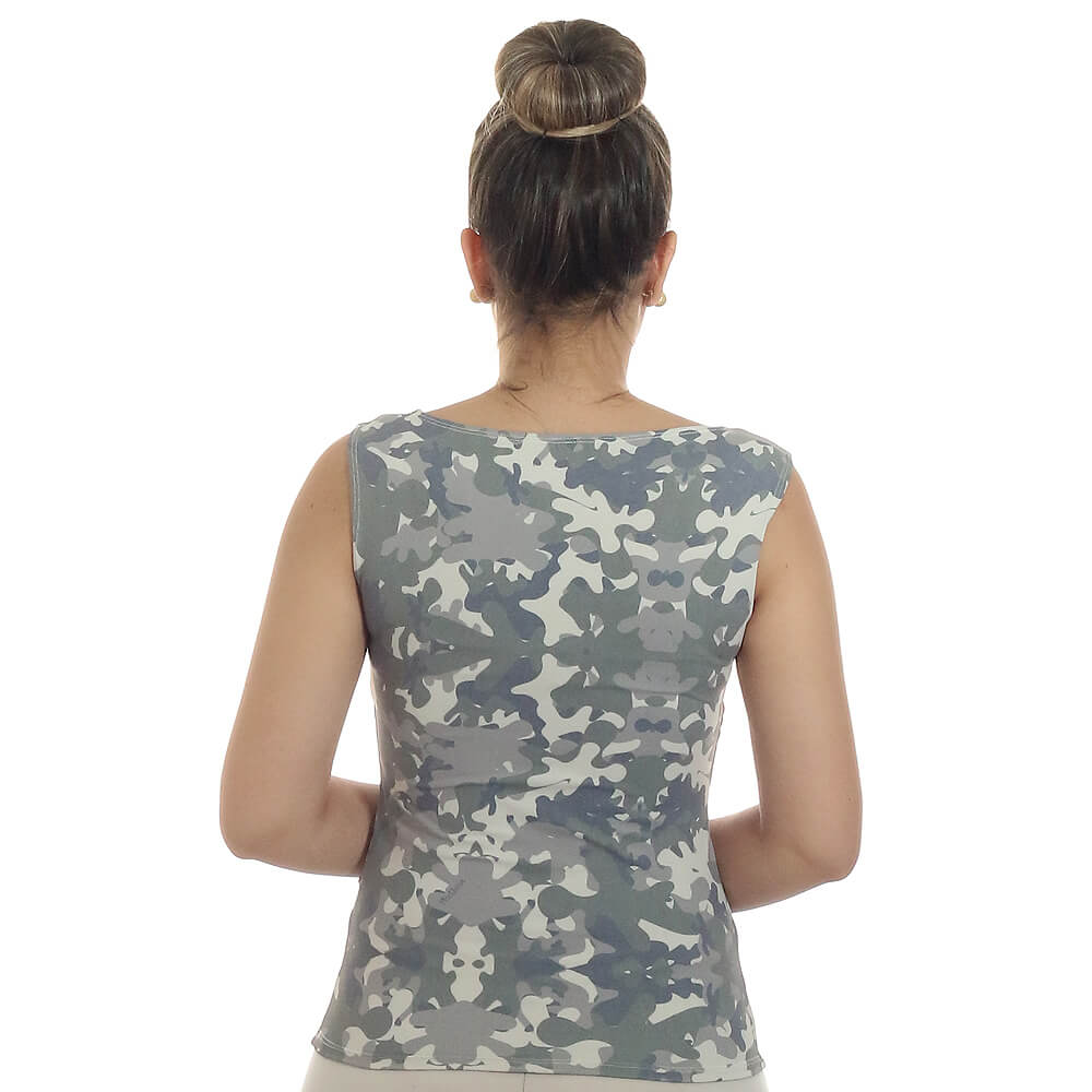 Regata Feminina Estampa Militar Camuflada Exclusiva Decote Canoa